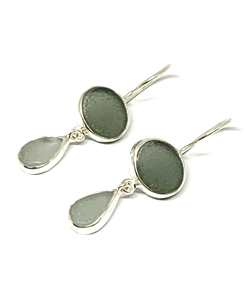 Dark & Light Grey Sea Glass Double Drop Earrings