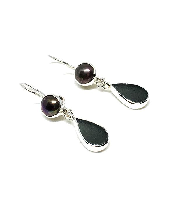 Dark Gray Sea Glass with Black Pearl Earrings Double Drop Earrings
