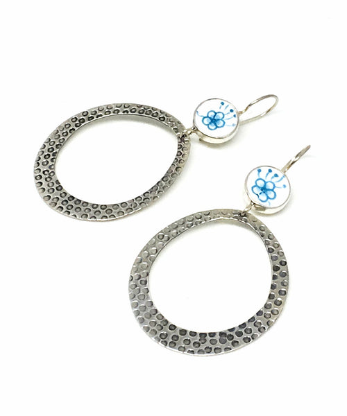 Aqua Floral Vintage Pottery Hoop Earrings