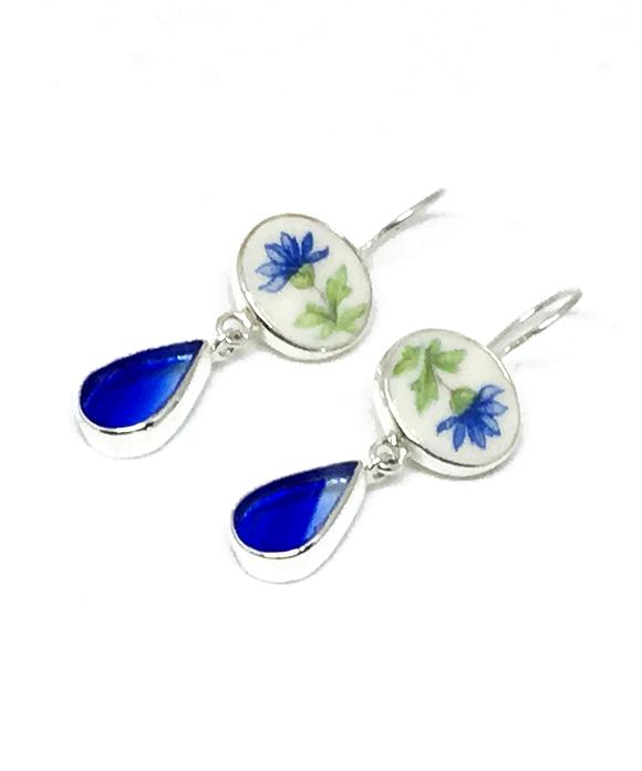Blue Flower Vintage Pottery & Cobalt Streaked Stained Glass Double Drop Earrings