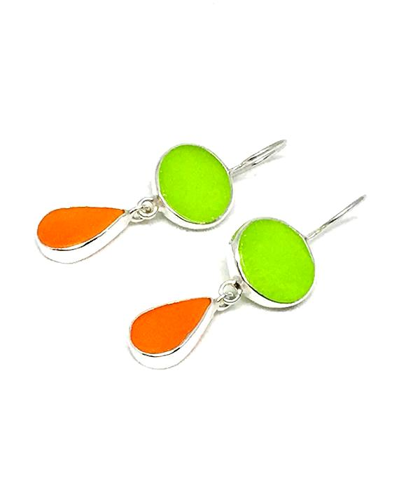 Lime Green and Orange Stained Glass Double Drop Earrings