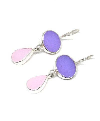 Lavender & Pink Stained Glass Double Drop Earrings