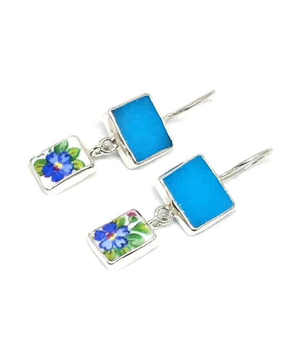 Turquoise Stained Glass & Blue Flower Vintage Pottery Double Drop Earrings