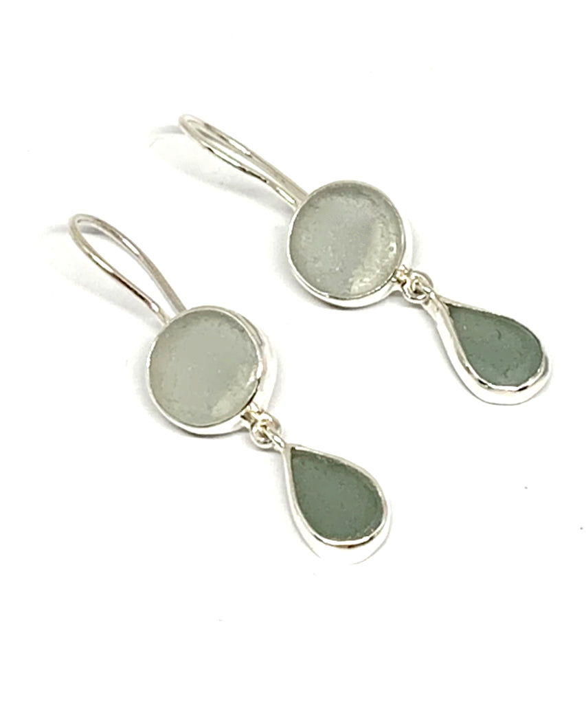 Shades of Grey Sea Glass Double Drop Earrings