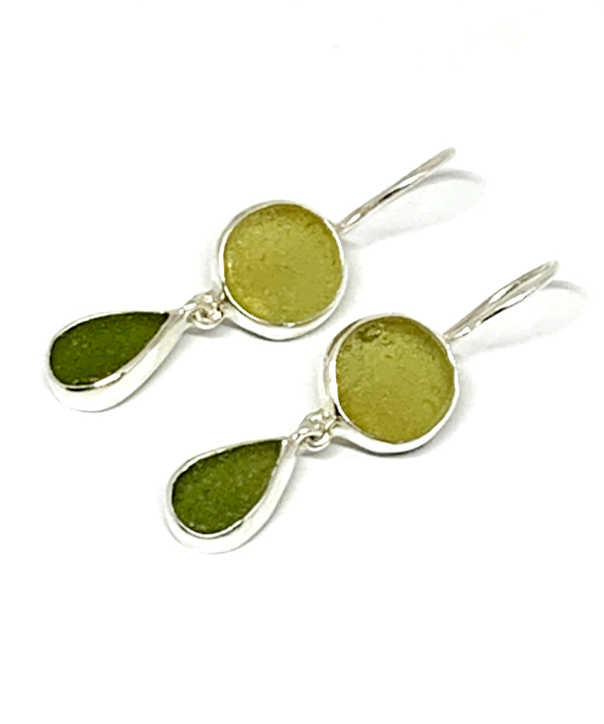 Shades of Olive Sea Glass Double Drop Earrings