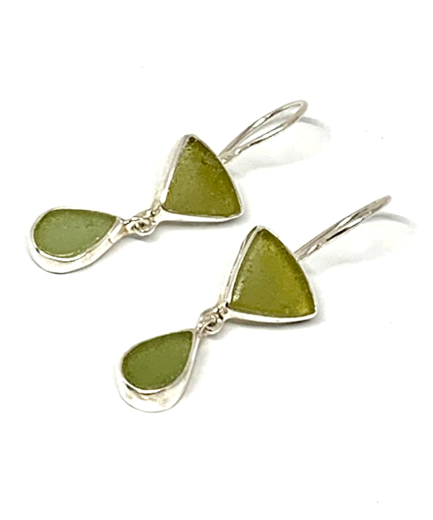 Olive & Sage Green Sea Glass Double Drop Earrings