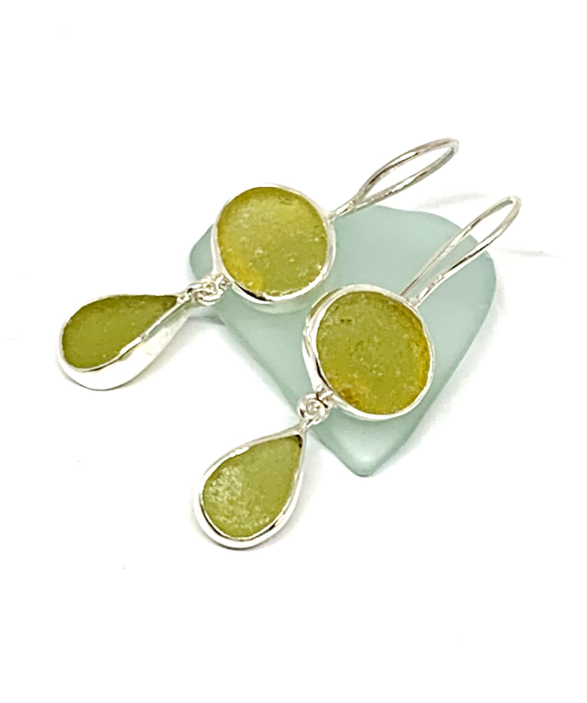 Chartreuse & Light Olive Sea Glass Double Drop Earrings
