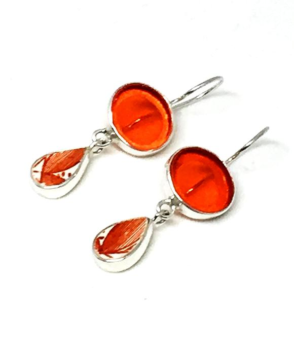 Orange Stained Glass with Bold Orange & White Vintage Pottery Double Drop Earrings