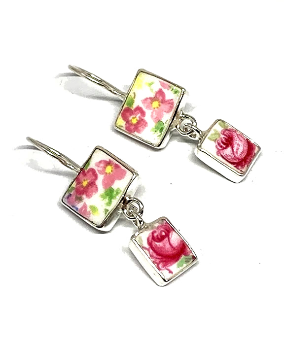 Pink Flowers Vintage Pottery Double Drop Earrings