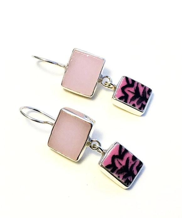 Pink Stained Glass with Black & Pink Vintage Pottery Double Drop Earrings