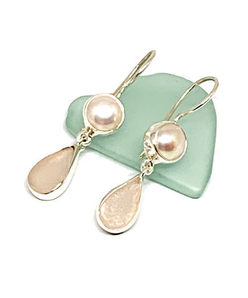Pink Sea Glass with Pearl Earrings Double Drop Earrings