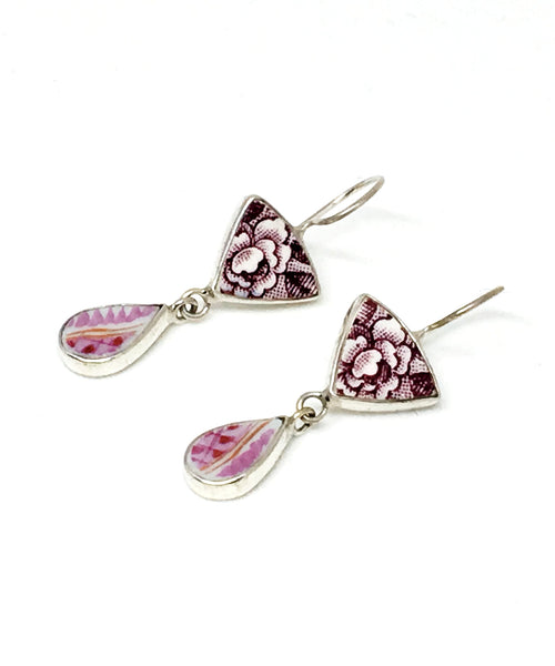 Purple and White Floral & Pink Vintage Pottery Double Drop Earrings