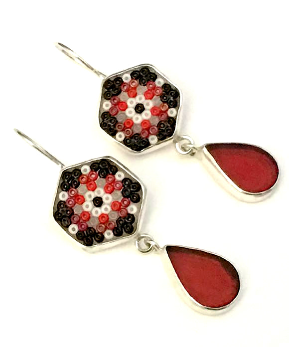 Red, Black & White Beaded Glass with Red Stained Glass Double Drop Earrings