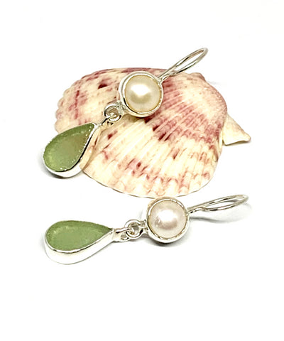 Light Sage Green Sea Glass with Pearl Earrings Double Drop Earrings