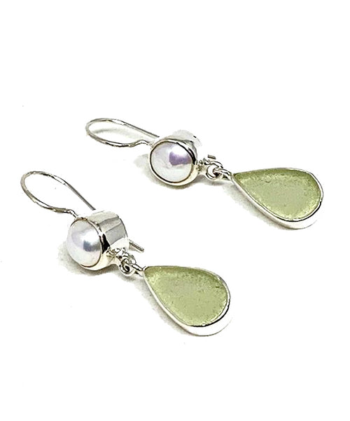 Light Sage Sea Glass with Pearl Earrings Double Drop Earrings