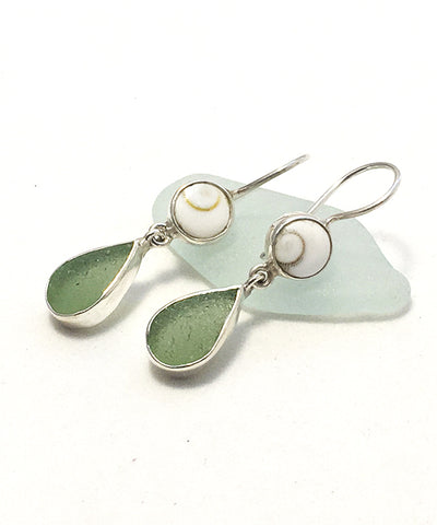 Sage Green Sea Glass with Shiva Shell Earrings