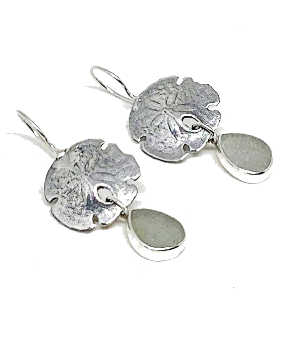 Cast Sterling Sand Dollar with Light Grey Sea Glass Double Drop Earrings