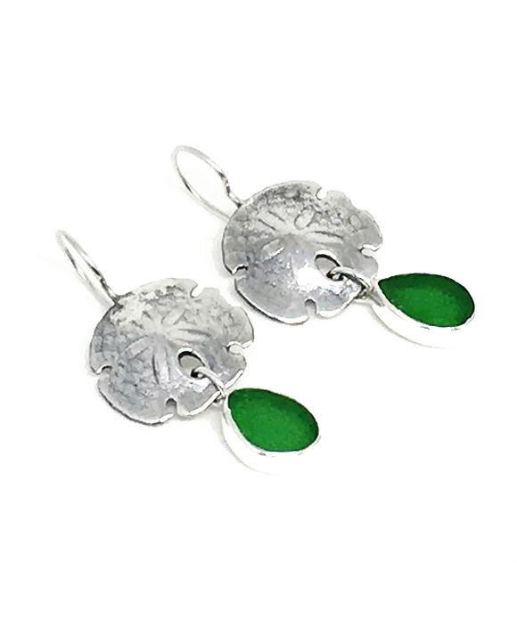Cast Sterling Sand Dollar with Green Sea Glass Double Drop Earrings