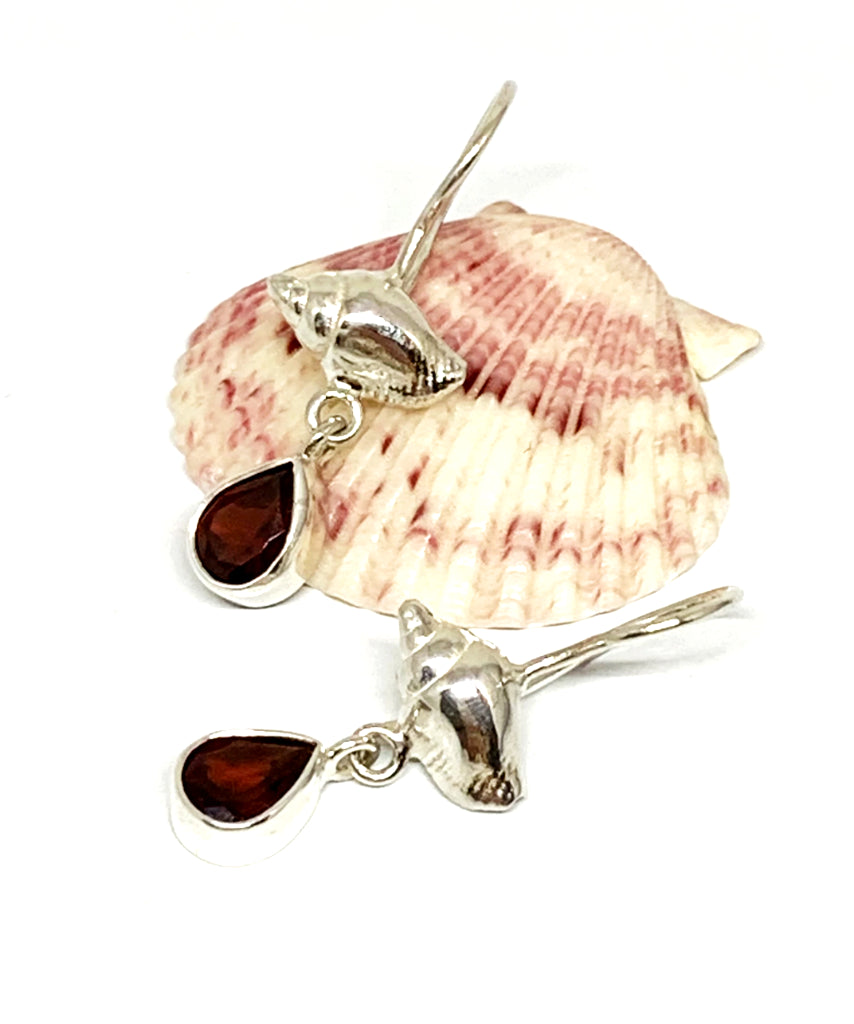 Cast Sterling Shell with Faceted Garnet Stone Double Drop Earrings