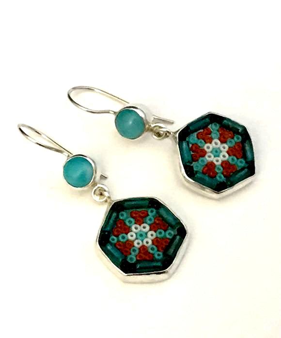 Turquoise & Rust Beaded Glass with Aquamarine Stone Double Drop Earrings