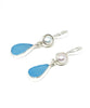 Aqua Sea Glass with Pearl Earrings
