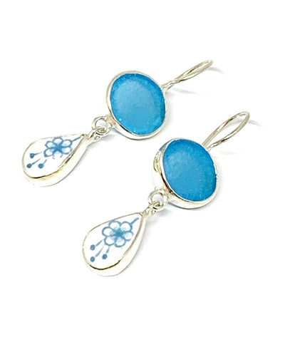Bright Turquoise Frosted Glass with Aqua Floral Vintage Pottery Double Drop Earrings