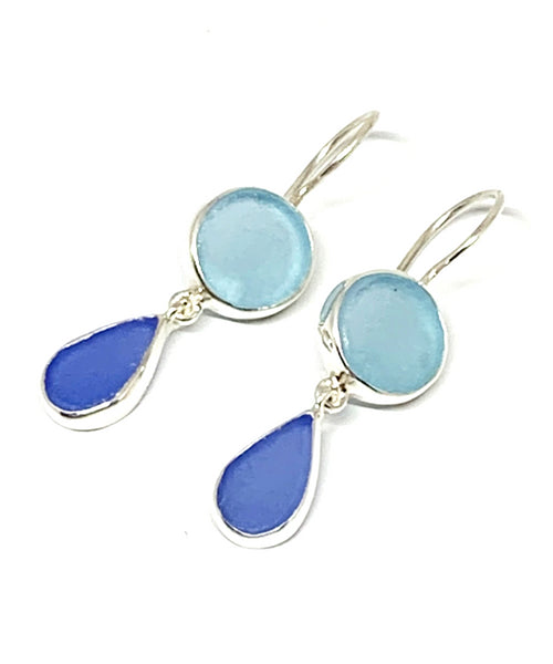 Bright Aqua and Blue Sea Glass Double Drop Earrings