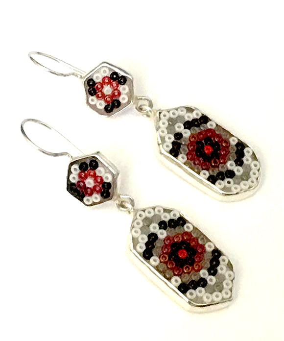 Red, White & Black Beaded Glass Double Drop Earrings