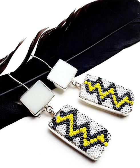 Yellow Zig Zag Beaded Glass Double Drop Earrings