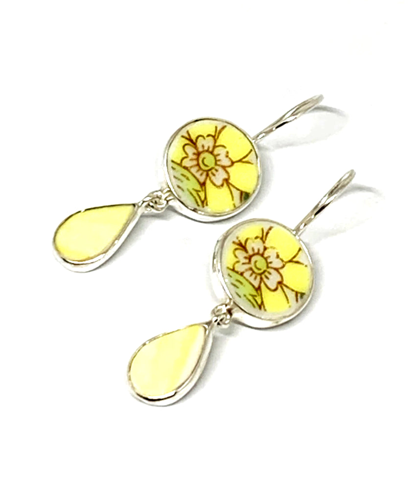 Yellow Flower Vintage Pottery with Yellow Stained Glass Double Drop Earrings