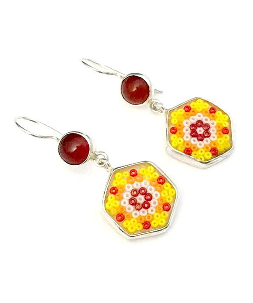 Yellow & Orange Beaded Glass with Carnelian Stone Double Drop Earrings