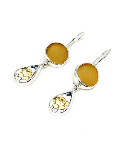 Amber Sea Glass & Yellow Flower Vintage Pottery Double Drop Earrings