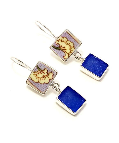 Yellow Flower Vintage Pottery with Blue Sea Glass Double Drop Earrings