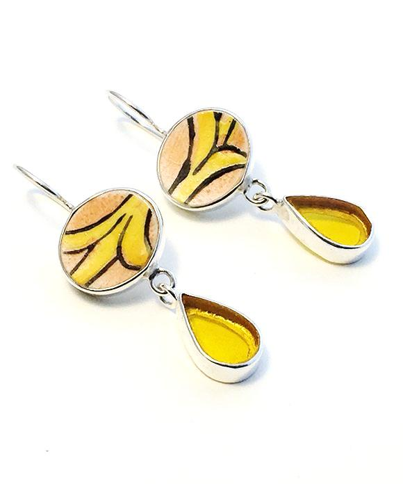 Orange & Yellow Vintage Pottery with Yellow Stained Glass Double Drop Earrings