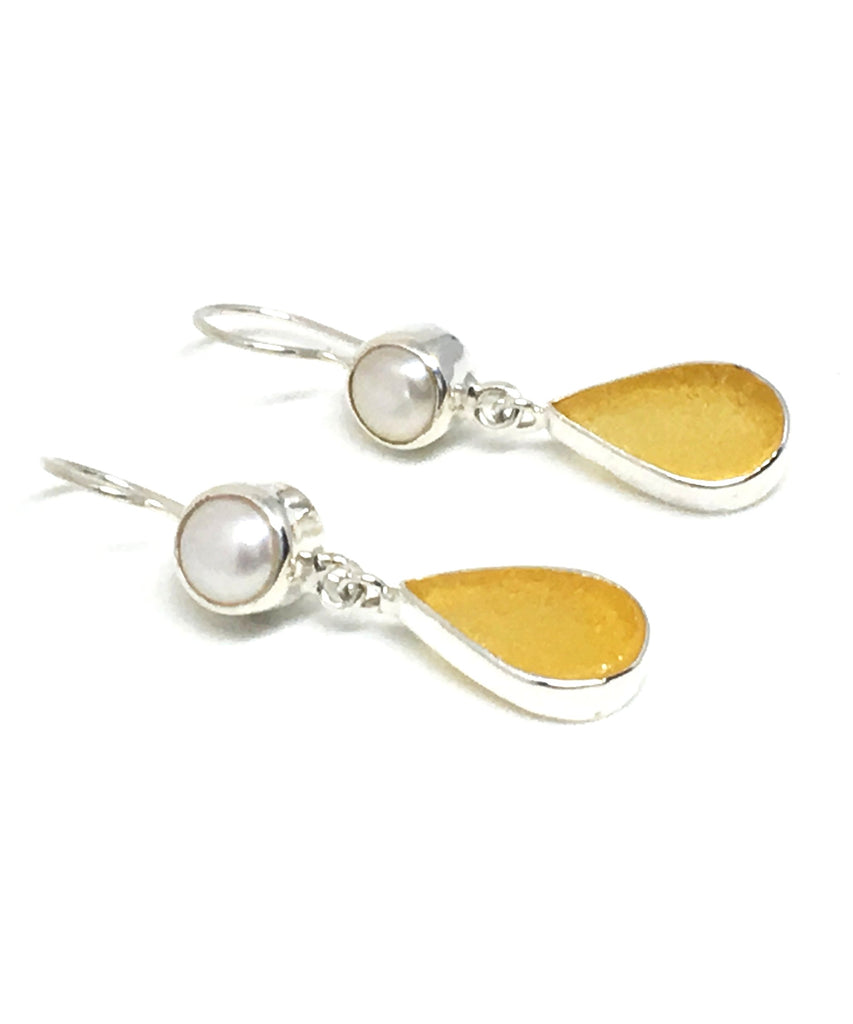 Amber Sea Glass with Pearl Earrings