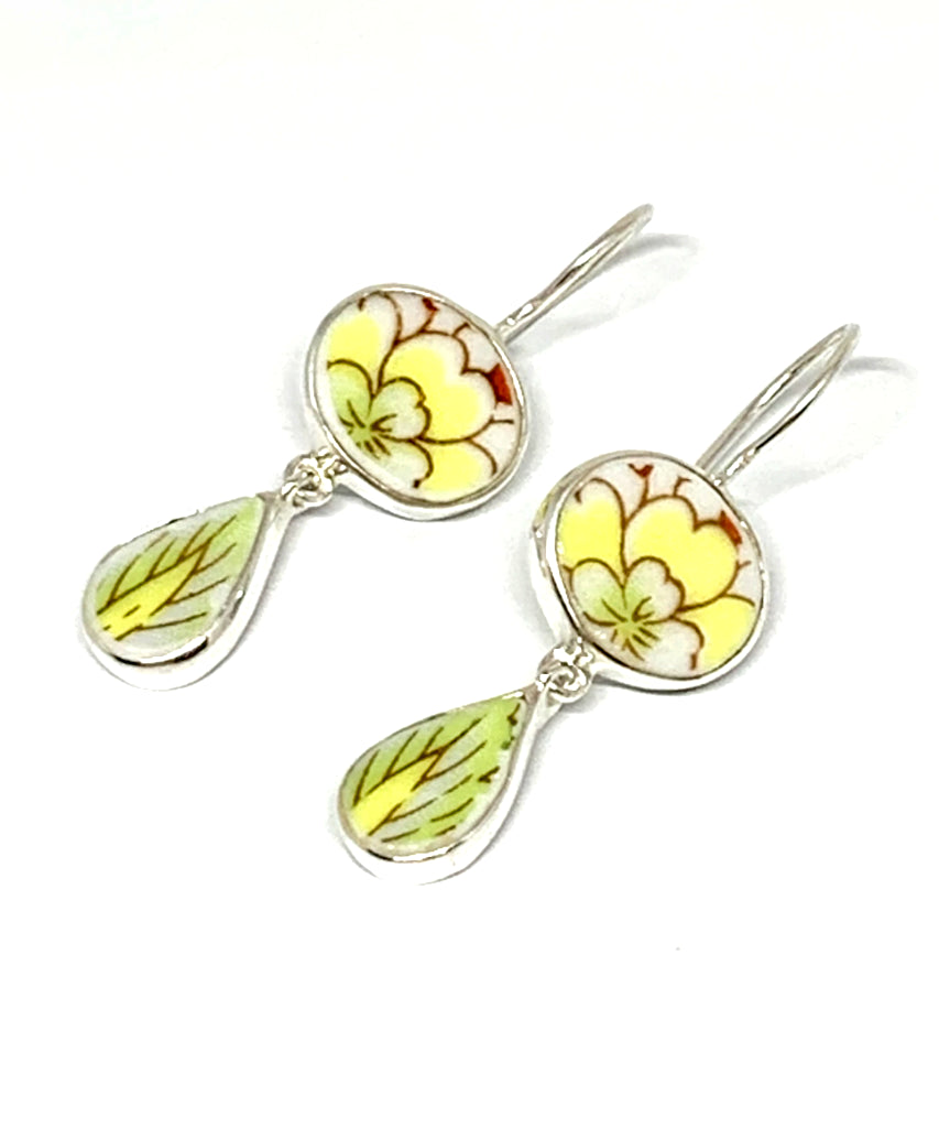 Yellow, Rust & Green Flower & Leaf Vintage Pottery Double Drop Earrings