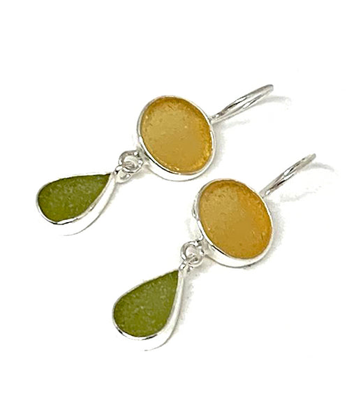 Amber & Olive Sea Glass Double Drop Earrings