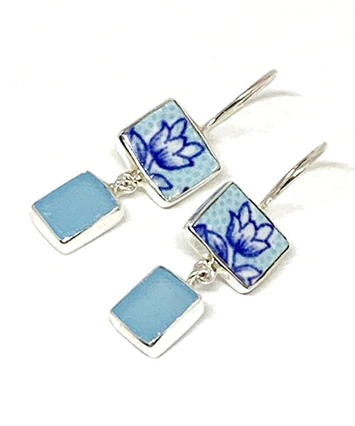 Aqua & Blue Flower Vintage Pottery with Aqua Sea Glass Double Drop Earrings