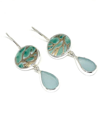 Bold Turquoise with Gold Vintage Pottery and Aqua Sea Glass Double Drop Earrings