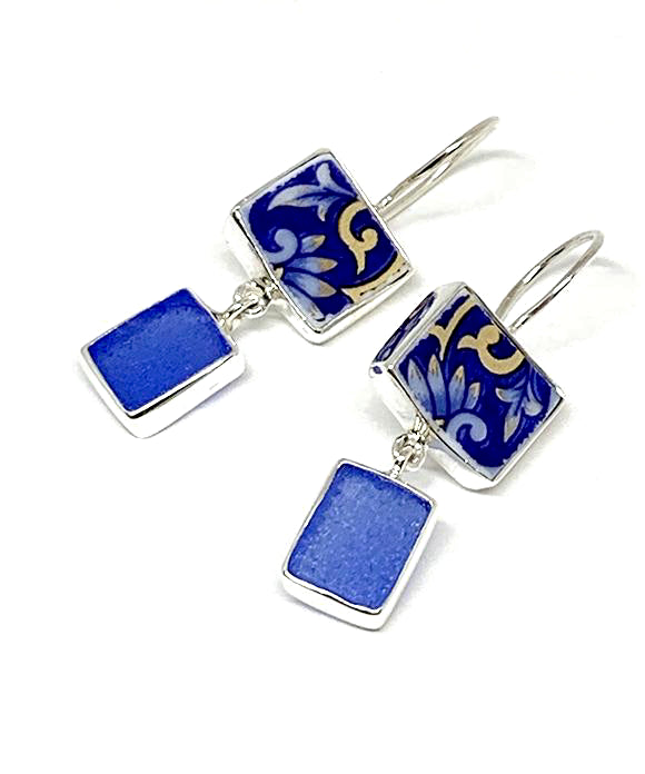 Bold Blue & Gold Flower Vintage Pottery with Blue Sea Glass Double Drop Earrings