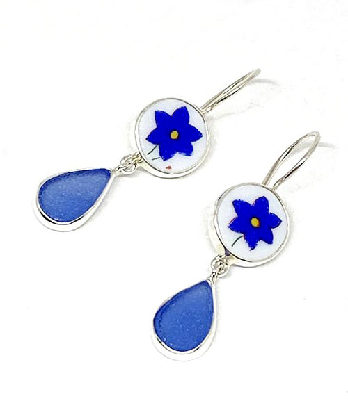 Cobalt Blue Flower Vintage Pottery with  Blue Sea Glass Double Drop Earrings