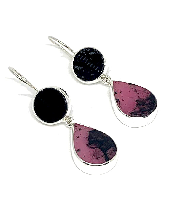Black Stained Glass with Pink & Black Fused Glass Double Drop Earrings