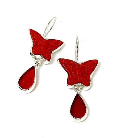 Red Cinnabar Butterfly with Red Stained Glass Double Drop Earrings