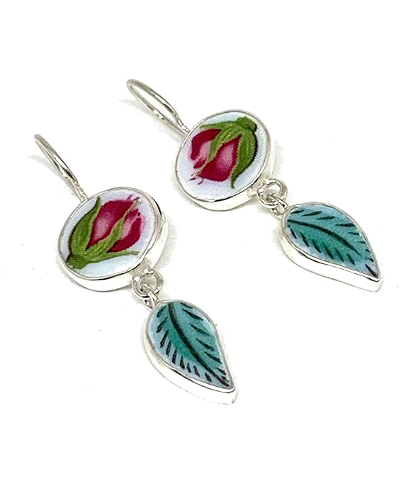 Red Rosebud and Green Leaf Vintage Pottery Double Drop Earrings