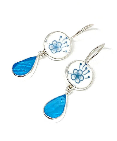 Blue Flower Vintage Pottery with Textured Turquoise Stained Glass Double Drop Earrings