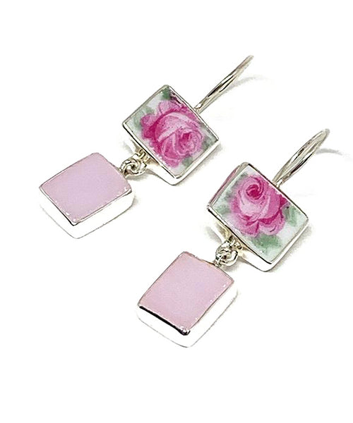 Pink Rose Vintage Pottery with Pink Stained Glass Double Drop Earrings