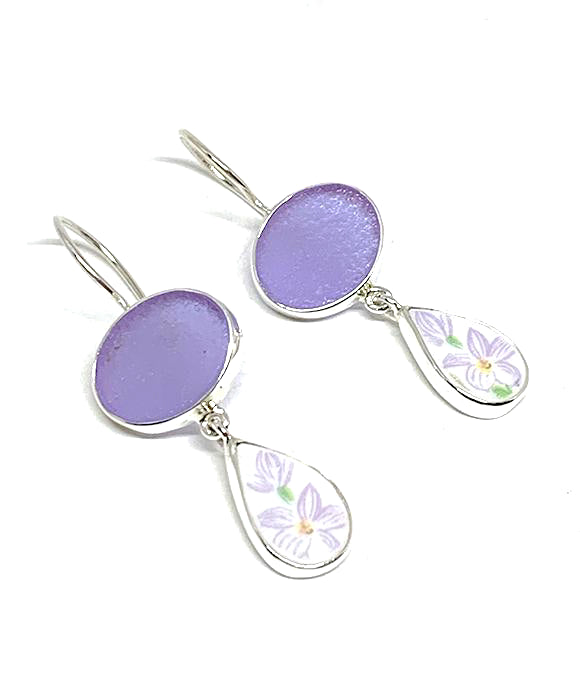 Lavender Frosted Glass with Light Purple Floral Vintage Pottery Double Drop Earrings
