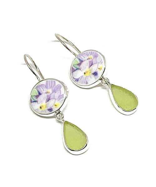 Soft Lavender Flower Vintage Pottery with Lime Green Sea Glass Double Drop Earrings