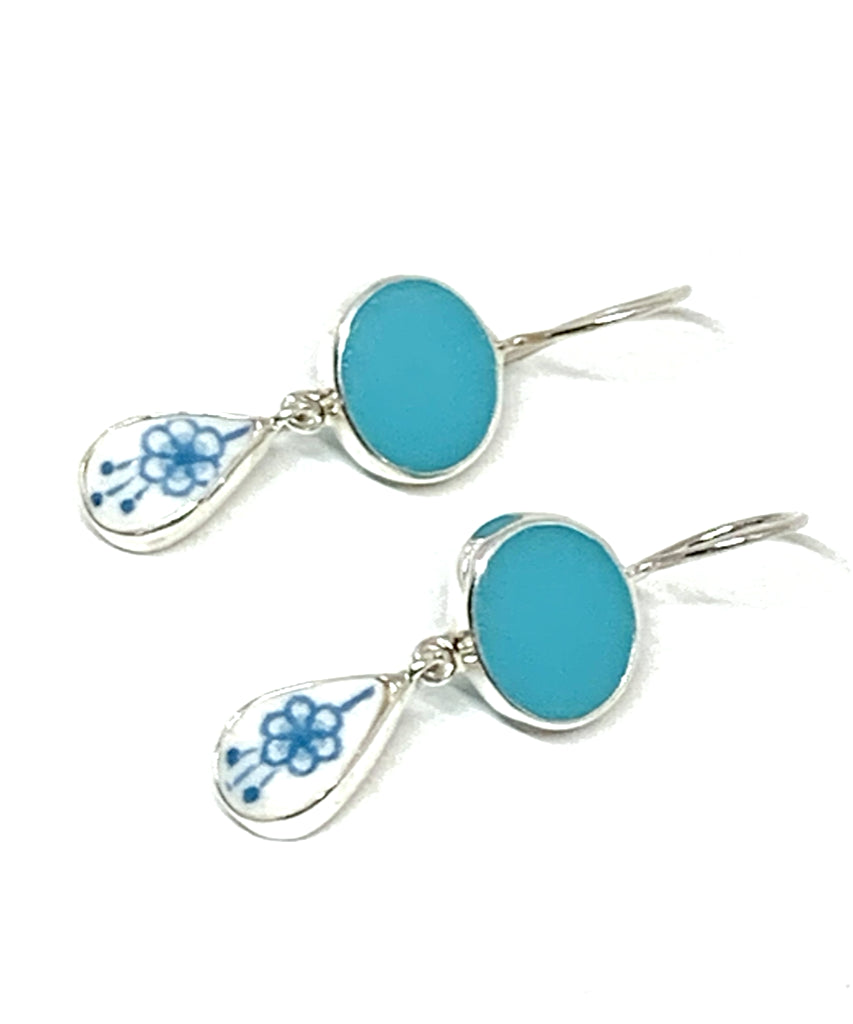 Blue Flower Vintage Pottery with Aqua Stained Glass Double Drop Earrings