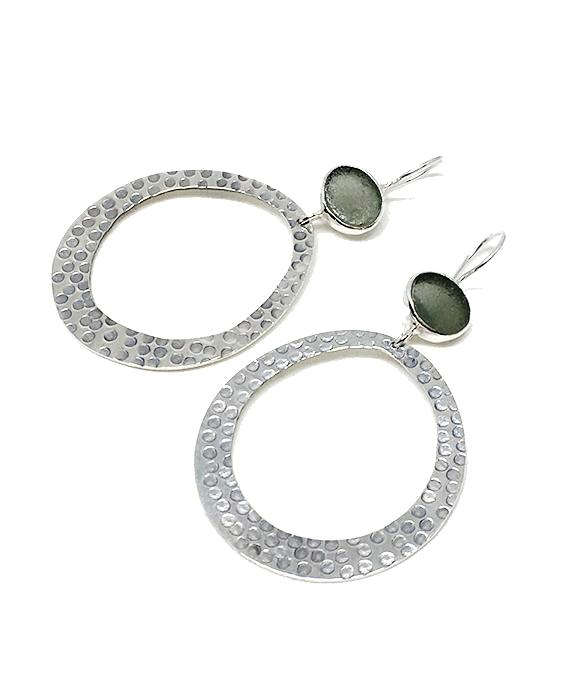 Gray Oval Sea Glass Hoop Earrings
